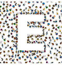 a group of people in of english alphabet letter e vector image