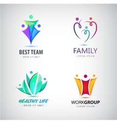Abstract stylized family team lead icon vector