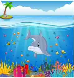 cartoon dolphin under the sea vector image