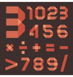 Font from reddish scotch tape - Arabic numerals vector image vector image
