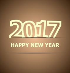 2017 Happy New Year on brown background vector image