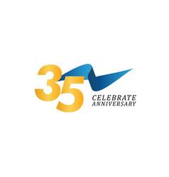 35 years anniversary celebration elegant ribbon vector