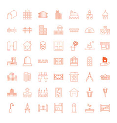 49 architecture icons vector image