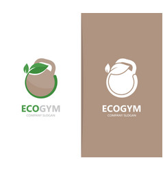 a weight and leaf logo combination vector image