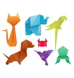 Animals origami set japanese folded modern vector