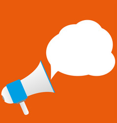 Announcement with loudspeaker on orange background vector