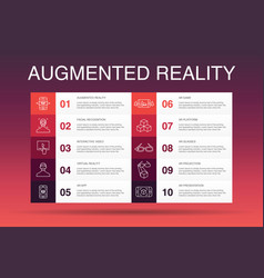 Augmented reality infographic 10 option template vector