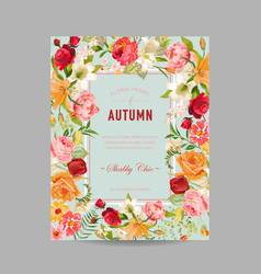 Autumn photo frame with orchid and lily flowers vector