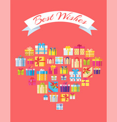 best wishes banner in heart shape gift box present vector image