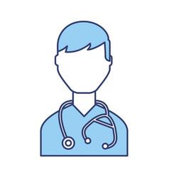 Blue doctor character cartoon vector
