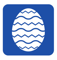 Blue white sign - easter egg with waves icon vector