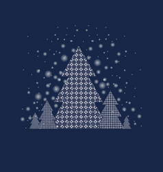 Blue xmas postcard with firtree vector