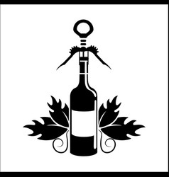 bottle of wine with take out cork icon vector image