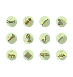Brass and woodwind tunes round flat icons vector