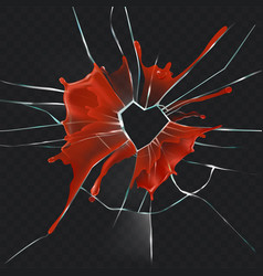 Broken glass heart bloody realistic concept vector