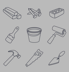 building materials and instruments tools set vector image