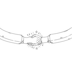 business handshake draw vector image