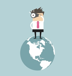 Businessman find opportunity on world vector