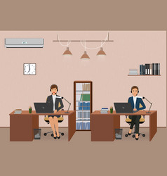 call center and customer service office with vector image