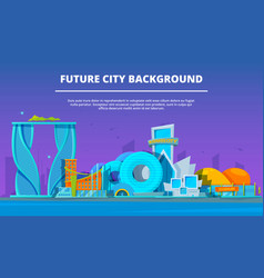 cartoon buildings pictures of futuristic vector image