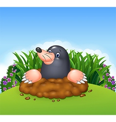 Cartoon funny mole in the jungle vector