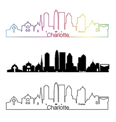 Charlotte skyline linear style with rainbow vector