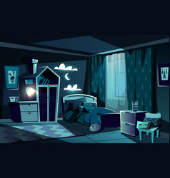 Child sleeping in bed in bedroom cartoon vector