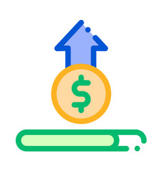 coin cash dollar growing up thin line icon vector image
