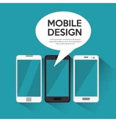 Collection smartphone mobile design bubble chat vector