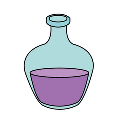 Color image cartoon rounded glass bottle essential vector