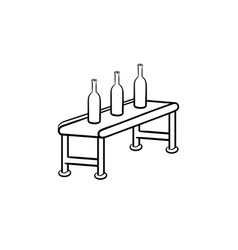 Conveyor belt with bottles hand drawn outline vector