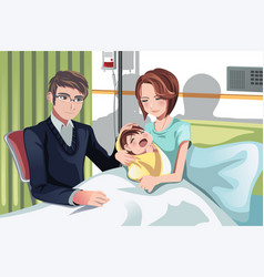 couple with a baby vector image