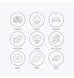Croissant cake and bread icons Muffin vector image