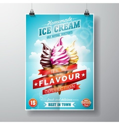 Delicious Ice Cream Flyer Design on sky background vector