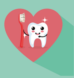 dental care kawaii characters vector image