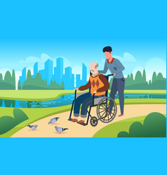 disabled care young man walking with grandfather vector image