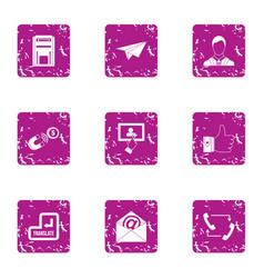 engage finance icons set grunge style vector image