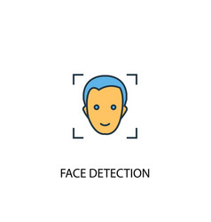 Face detection concept 2 colored line icon simple vector