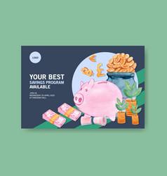Facebook design template with piggy bank vector