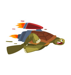 Fast turtle funny animal cartoon character vector