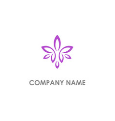 flower leaf beauty purple logo vector image