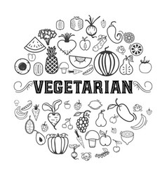 fruits and vegetables vegetarian set isolated vector image