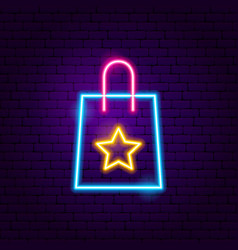 Gift shopping bag neon sign vector