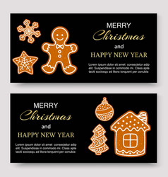 gingerbread merry christmas banners and card vector image