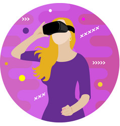Girl in virtual reality glasses vector