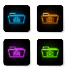 glowing neon folder upload icon isolated on white vector image