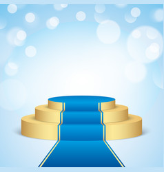 Golden stage with blue carpet vector