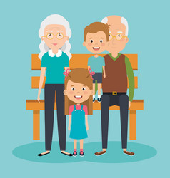 Grandparents couple with grandchildren avatars vector