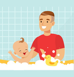 Happy cheerful dad bathing his bain bathtub vector