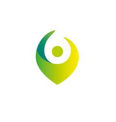 Health gradient logo template human geo tag vector